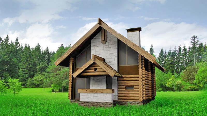 Двухэтажный дом в стиле традиционной избы, с навесным фасадом в виде имитации бревенчатого сруба. Площадь 100 кв.м