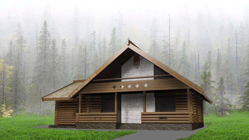 Дом в стиле избы, с гаражом